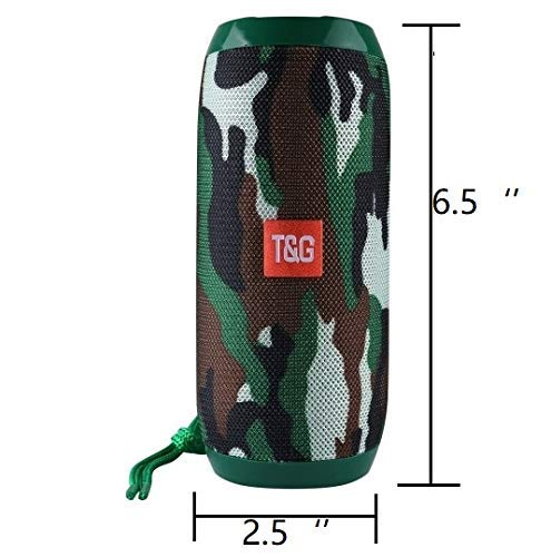 RiderTech 117 Bluetooth Speaker Portable Waterproof Outdoor Wireless Speakers Enhanced Bass, Built in Mic, TF Card, Auto Off, FM Radio for Beach, Shower & Home (Camo)