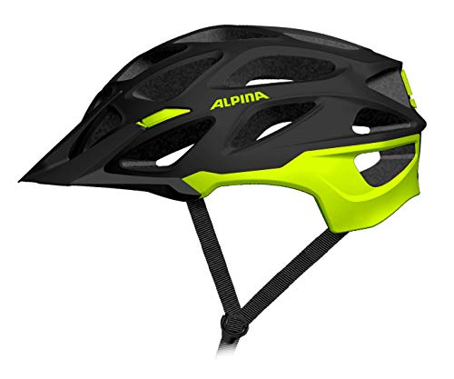 ALPINA MYTHOS 3.0 LE Fahrradhelm, Unisex– Erwachsene, black-neon-yellow matt, 52-57