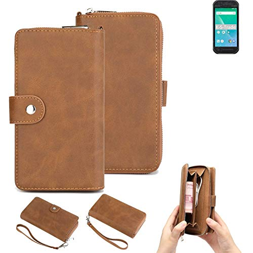 K-S-Trade Handy-Schutz-Hülle Für Panasonic Toughbook P-01K Portemonnee Tasche Wallet-Hülle Bookstyle-Etui Braun (1x)