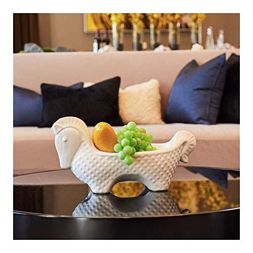 Bandeja de frutas, Cerámica de la sala de hogar Cesta de frutas, bandeja de frutas secas, para almacenar verduras organizadas, huevos y más para el recipiente de fruta de contador (tamaño: pequeño) TI