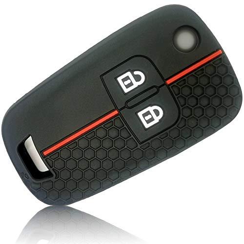 FoilsAndMore Funda Compatible con Opel Chevrolet Llave de Coche con 2 Botones - Silicona Cubierta Protectora Cover Caso Clave in Negro Rojo