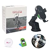 ZC GEL Car Wireless Charger, Auto-Clamp Qi Fast Charging Windshield Dashboard & Vent Car Phone Holder Wireless Car Charger Mount for All QI-Enabled Phones