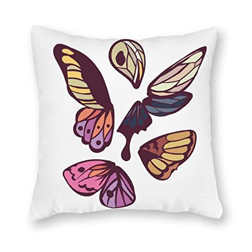 qidushop Funda de almohada de lona con un solo lado, diseño de alas de mariposa, funda de cojín decorativa de lona para sofá dormitorio, 45,72 x 45,72 cm