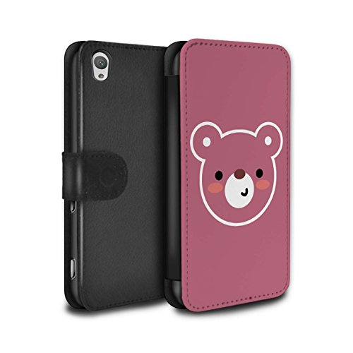 Stuff4® PU Leather Case/Cover/Wallet/oth-psw/Cute Minimalist Animals Collection Art de L'ours Peluche Sony Xperia XA