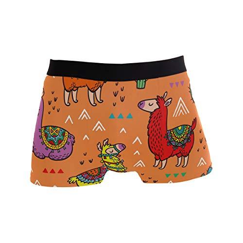 PINLLG Niedliche Tier-Alpaka- / Lama- / Kaktus-Boxershorts für Herren, für Jungen und Jugendliche, aus Polyester und Spandex Gr. L, Mehrfarbig