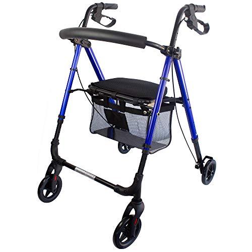 Mobiclinic, Modelo Augusto, Andador para adultos, minusvalidos, mayores o ancianos, de aluminio, ligero, plegable, con asiento y 4 ruedas, Color Azul