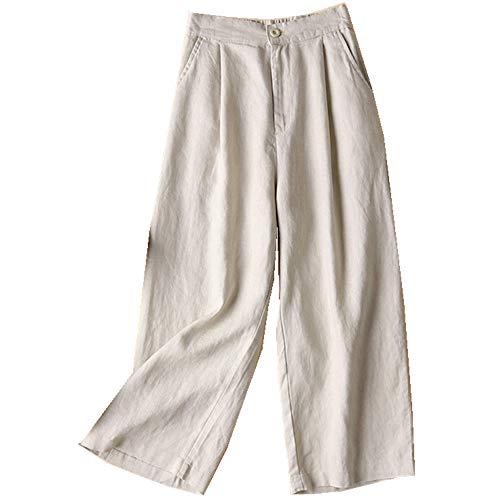 NOBRAND Primavera y verano de algodón y lino de las mujeres pantalones de pierna ancha de lino pantalones casuales delgados Ol pantalones de las mujeres pantalones sueltos