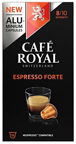 Café Royal Espresso Forte 100 Capsules en Aluminium Compatibles avec le Système Nespresso (R)*; Intensité: 8/10 - 52 g - (Lot de 10X10 capsules)
