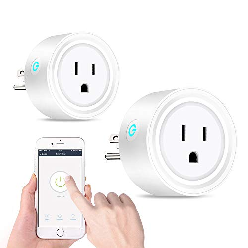 WiFi Smart Plugs That Work with Alexa Google Home, Mini Smart Socket Adapter, App Remote Control from Anywhere, No Hub Required Timing Switch, Overload Protection Outlet 2 Pack