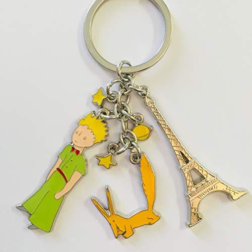 KIUB Porte Clef Paris Tour Eiffel avec Le Petit Prince et Son Renard - Hauteur Tour Eiffel et Petit Prince 5CM - Haute qualité