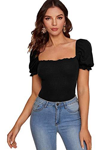 DIDK Damen Elegant Oberteil T-Shirt Sommer Kurzarm Bluse Tunika Rüschen Tee Puffärmel Shirts Einfarbig mit Eckiger Ausschnitt Schwarz L