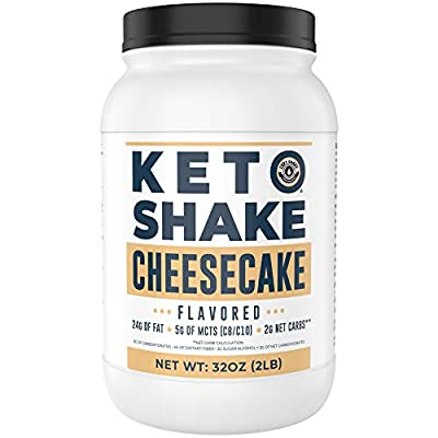 Cheesecake Keto Meal Replacement Shake [2lbs] - Low Carb Keto Protein Powder Shake Mix, High Fat Protein Shake with MCTs, Collagen Peptides and Real USA Cream Cheese