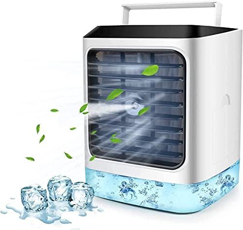 Refrigerador de aire portátil, refrigerador de aire Mini, 4 en 1 enfriador de evaporaciones personales, humidificador, 7 colores DIRIGIÓ Luz, ventilador de enfriamiento para el hogar, habitación, ofic