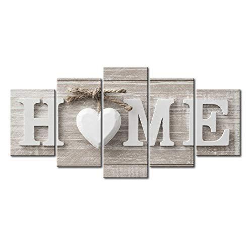 Fbewan Stampe su Tela 5 Pezzi Opere d'Arte HD Picture Home Art Design Sweet Home Immagini Print Home Decorazione per La Casa Wall Art,Frameless,150X80cm