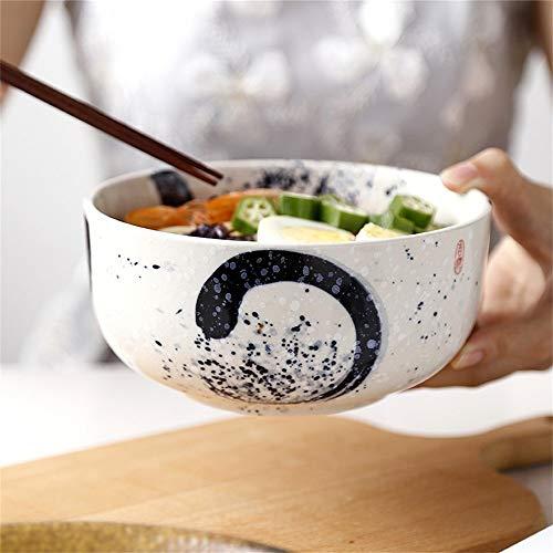 LIXUE Grande soupe ramen nouilles bol créatif salade de fruits servant de mélange bol rétro peint à la main en céramique vaisselle four à micro-ondes coffre-fort 7,5 pouces (Color : Black)