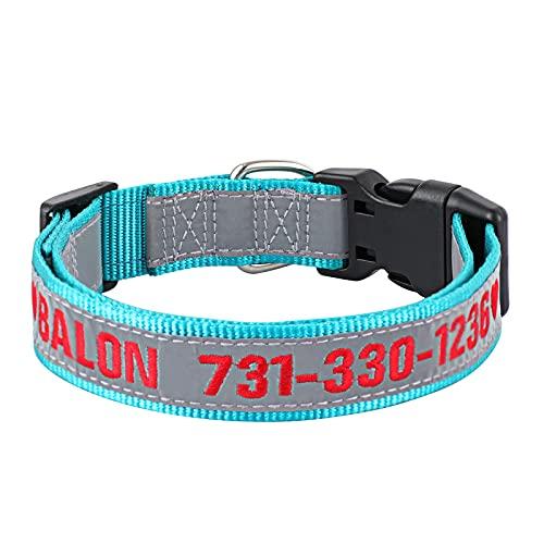Collier de Chien personnalisé, Colliers de Chien d'identification brodés personnalisés Colliers de Chien de sécurité en Nylon réfléchissants Collier de téléphone pour Grand (Bleu Sarcelle)