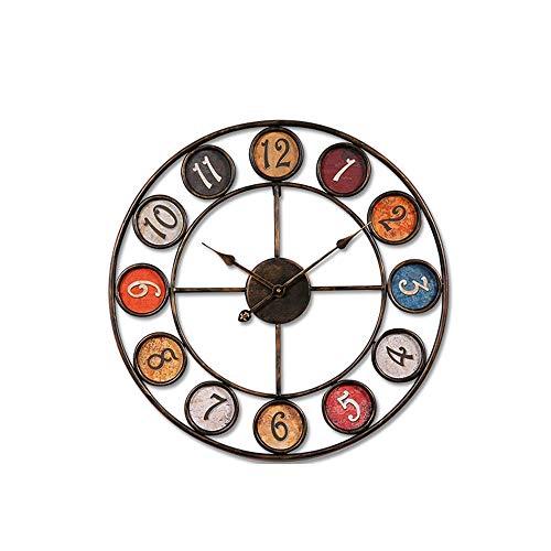 SWNN Relojes de Pared Personalidad Creativa Salón Reloj De Pared De Material De Hierro Forjado del Reloj del Reloj De Pared Retro Den Reloj Silencio Tamaño 60cm * 60cm