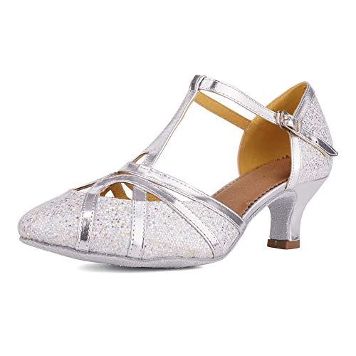 HIPPOSEUS Zapatos de Baile Latino para Mujer con Correa en T Zapatos...