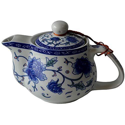 Blue Peony Porcelain Ceramic Teapot with Strainer