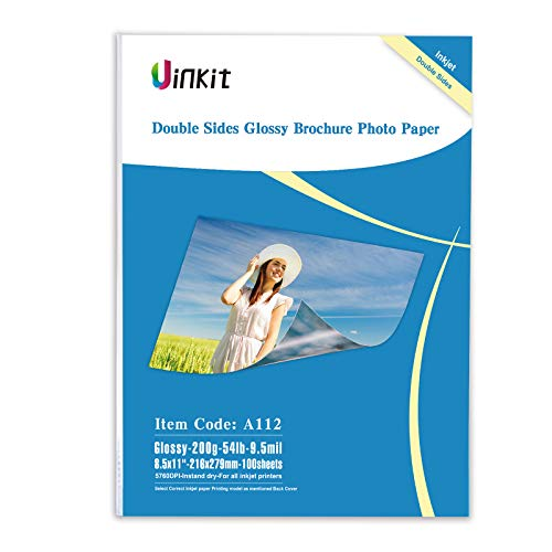 Double Sided Glossy Inkjet Photo Paper – Uinkit 8.5×11 Inches 9.5Mil 200g For Inkjet Printing Only – 100sheets