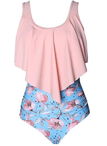 Amenxi Tankini Sets Damen Bikini Rüschen Badeanzug Zweiteilige Bademode mit Retro Hoher Taille Strandkleidung Bikinihose (Pink Flower, EU 42-44(L))