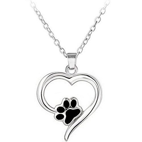 Outflower Collar con diseño de perro de Mignon Paw Print, con texto en inglés «Footprint Footprint», collar y accesorios de joyas para niñas, regalo de boda, aniversario, color negro