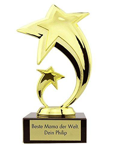 4you Design Stern Award mit Gravur Pokal, Trophäe, Geschenk, Muttertag, Geburtstagsgeschenk, Vatertag, Geschenkidee