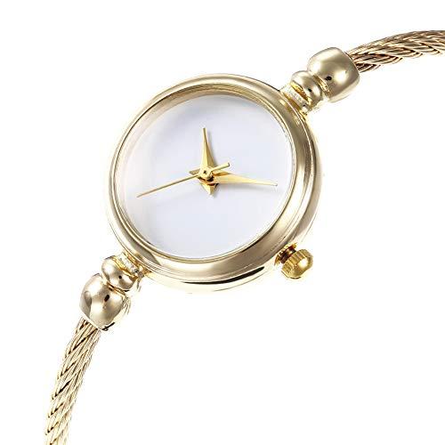GREENLANS Mode Elegant Vintage Frauen Keine Skala Runden Zifferblatt Legierung Draht Band Armreif Quarz-Armbanduhr Geschenk Für Mädchen Gold + Schwarz