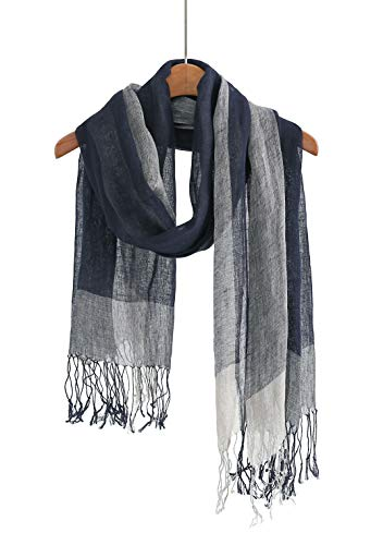 Jeelow 100% Linen Scarf Shawl Wrap Lightweight Light Scarves For Men And Women (Navy Block)