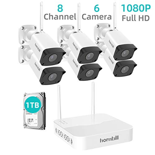 Wireless Home Security Camera System, Hornbill 1080P 8CH Expandable Surveillance NVR Kit with 1TB Hard Drive, 6pcs 1080P Waterproof Outdoor Security Camera, Clear Night Vision Free Remote Access DVR Kits Surveillance