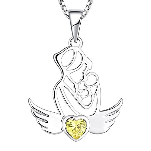 YL Collar Madre e Hija/Hijo Plata de Ley 925 Corte de Circonita Amarillo con alas de ángel Regalos para Mujeres Mamás, 45-48 CM