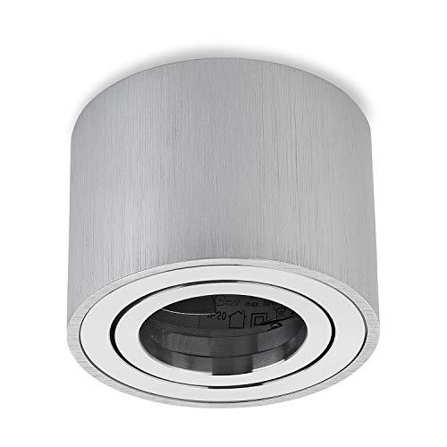 Sweet LED - Foco plano de aluminio, 80 x 50 mm, giratorio, redondo, rectangular, lámpara de techo, foco empotrable (redondo), color plateado