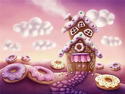 5D Diamond Painting Candy House Full Round Drill Cross Stitch Diamond Embroidery Landscape Handicraft Home Decor A10 50x70cm