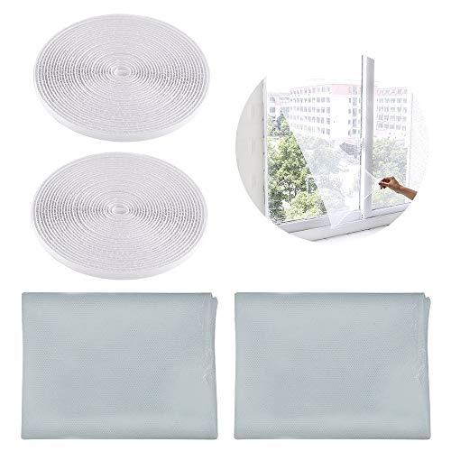 SITAKE 2 stuks insectenhorren met 2 zelfklevend klittenband - insectengaas raam - vliegengaas - vliegengaas voor ramen 1,3m x 1,5m grijs