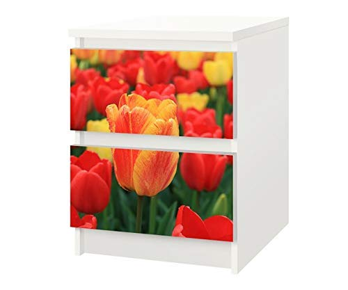 Set Möbelaufkleber für Ikea Kommode MALM 2 Fächer/Schubladen Blumen Tulpen Kat7 gelb rot Tulpe Aufkleber Möbelfolie sticker (Ohne Möbel) Folie 25F106