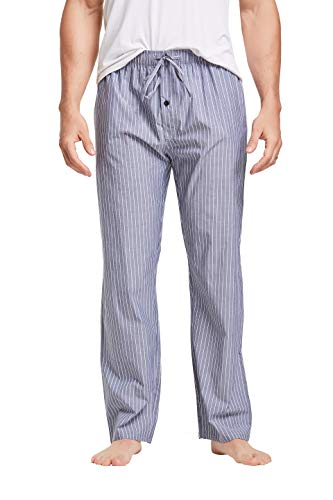 CYZ Men's 100% Cotton Poplin Pajama Lounge Sleep Pant, Dark Grey, Mens Size: Large