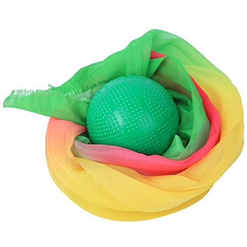 XiangXin Bola de Fuerza Suave de Alta flexibilidad, Bola de Seda Alargada, para Tai Chi Todo Tipo de Raqueta Niños(Green Ball + Colorful Yarn 1.5 Meters)