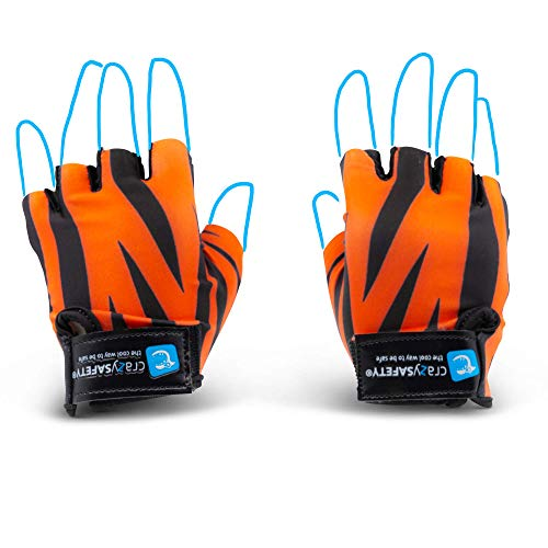 Crazy Safety Bicycle Gloves for Kids (Tiger Orange, Small)