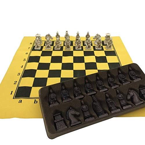 Jszzz Schach-Brettspiel Set Leder Schachbrett China Terrakotta-Schach-Stücke for Party-Spiel (Größe: 32cm * 32 cm (Size : 32cm*32 cm.)