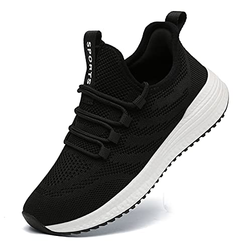 IPETSUN Womens Running Tennis Shoes - Lightweight Breathable Mesh Sneakers Athletic Gym Sports Travel Shoes Black US 7
