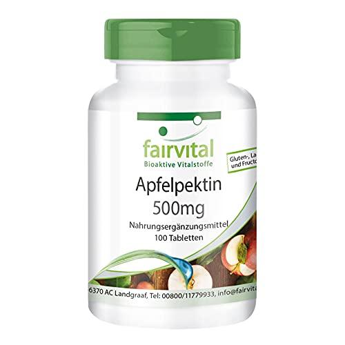 Pectina de Manzana 500mg - VEGANA - Contiene Calcio y Vitamina C - 100 Comprimidos - Calidad Alemana