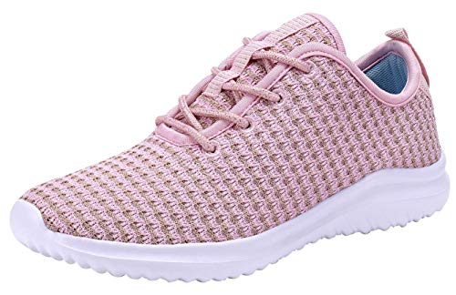YILAN Women's Fashion Sneakers Breathable Sport Shoes (8, Pink)