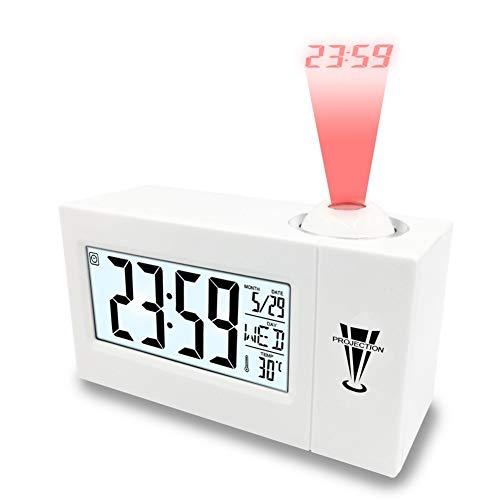 Projectiewekker voor kinderen, digitale digitale digitale wekker, binnentemperatuur, tijd datumweergave, 8 alarmgeluiden, USB-aansluiting voor slaapkamer, kantoor, keuken