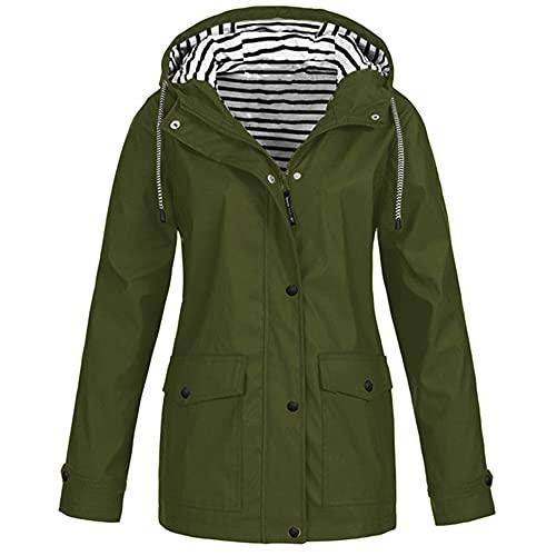 N\P Chaqueta de mujer abrigo impermeable cortavientos chaqueta con capucha Senderismo al aire libre