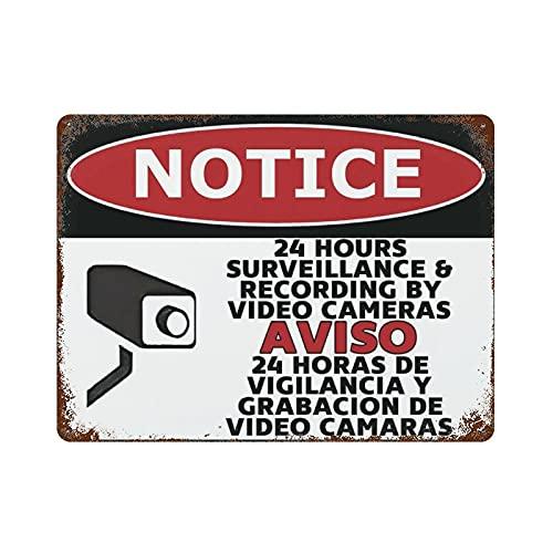 Señal bilingüe de advertencia de 24 horas de vigilancia por cámaras de vídeo, señal de parada de 30 x 40 cm, señal de metal para puerta delantera del patio