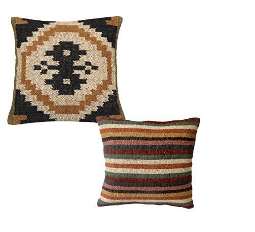 Handicraft Bazarr Combo de 2 Piezas 18x18 Tejido a Mano Kilim Funda Decorativa de cojín de Lana de Yute para sofá o Almohadas de Yute