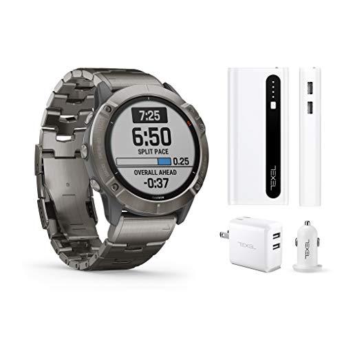 Garmin Fenix 6X Pro Solar Titanium with Vented Titanium Bracelet, Premium Multisport GPS Watch (010-02157-23) and Texel 10,000mAh Portable Battery Pack, Wall and Car Charger Bundle