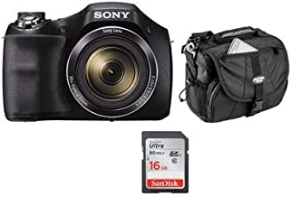 Sony Cyber-shot DSC-H300 Digital Camera, 20.1MP, 35x Optical Zoom, Black - Bundle with 16GB Class 10 SDHC Card, LowePro Holster Case