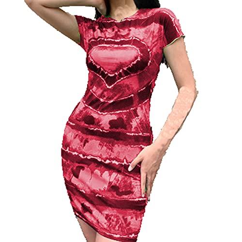 Primavera Y Verano, Jersey Informal para Mujer, Cuello Redondo, Estampado De Amor, TeñIdo Anudado, Vestido Ajustado De Manga Corta para Mujer