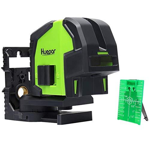 Huepar 8300G Livella Laser 3 Punti Verde, Professionale Laser Level con Funzione di Saldatura, Funzione Autolivellante e Inclinabile, Campo di Lavoro 60m, Base Magnetica e 4 Batterias Inclusa